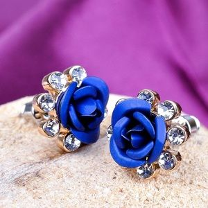 Blue Roses & Round Crystal Stud Earrings